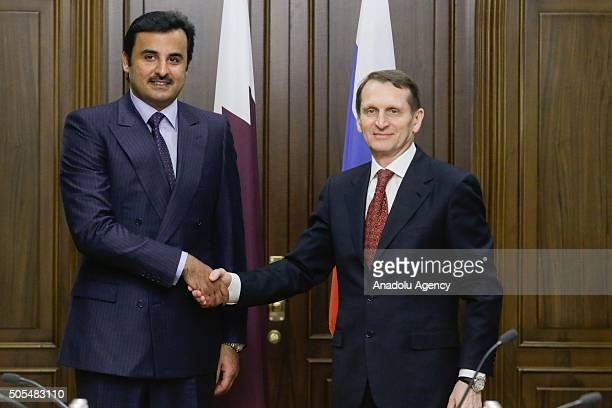Emir of Qatar Tamim bin Hamad Al Thani shakes hands with the Chairman of the State Duma Sergey Naryshkin in Moscow Russia on January 18 2016