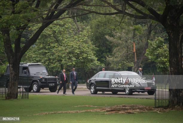 Emir of Qatar Tamim bin Hamad alThani's motorcade arrives at presidential palace in Bogor West Java province on October 18 before the bilateral...