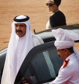 Emir of the State of Qatar Sheikh Hamad Bin Khalifa AlThaniand his wife Sheikha Mozah bint Nasser Al Missned arrive for a Ceremonial Reception at...