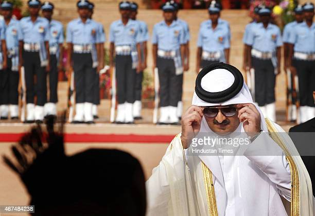 Emir of the State of Qatar Sheikh Tamim bin Hamad AlThani during his ceremonial reception at Rashtrapati Bhawan on March 25 2015 in New Delhi India...