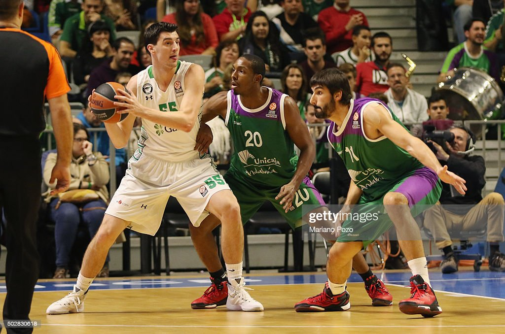 Emir Preldzic, #55 of Darussafaka Dogus Istanbul in action during the Turkish Airlines Euroleague Basketball Top 16 Round 1 game between Unicaja Malaga v Darussafaka Dogus Istanbul at Martin Carpena Arena on December 29, 2015 in Malaga, Spain.