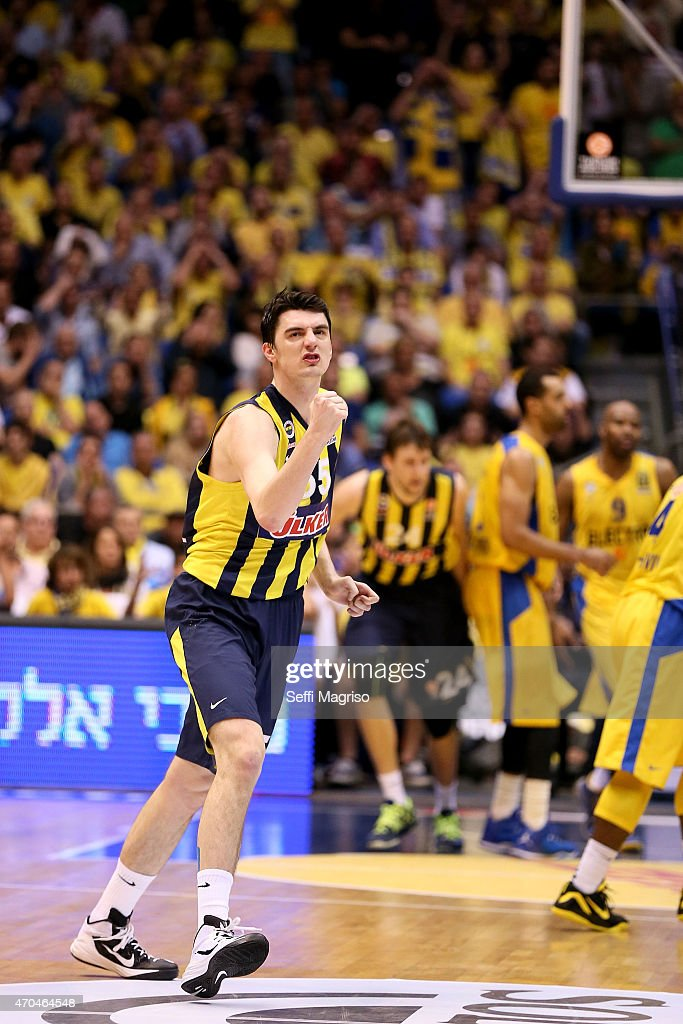 Emir Preldzic, #55 of Fenerbahce Ulker Istanbul celebrates during the 2014-2015 Turkish Airlines Euroleague Basketball Play Off Game 3 between Maccabi Electra Tel Aviv v Fenerbahce Ulker Istanbul at Menora Mivtachim Arena on April 20, 2015 in Tel Aviv, Israel.