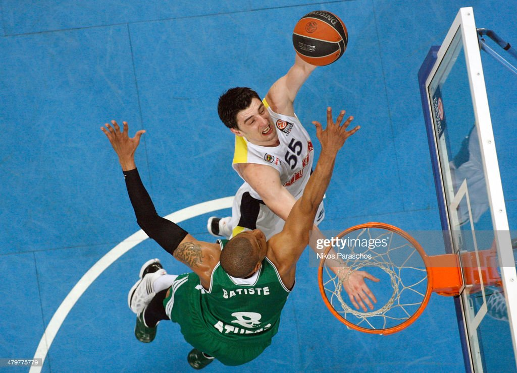 Emir Preldzic #55 of Fenerbahce Ulker Istanbul competes with Mike Batiste #8 of Panathinaikos Athens during the 20132014 Turkish Airlines Euroleague...