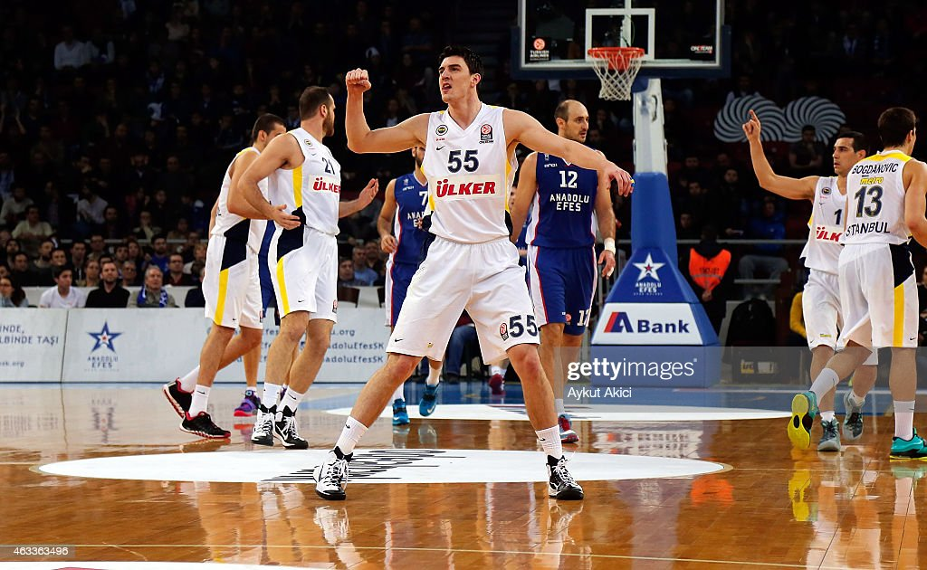 Emir Preldzic, #55 of Fenerbahce Ulker Istanbul in action during the Turkish Airlines Euroleague Basketball Top 16 Date 7 game between Anadolu Efes Istanbul v Fenerbahce Ulker Istanbul at Abdi Ipekci Arena on February 13, 2015 in Istanbul, Turkey.