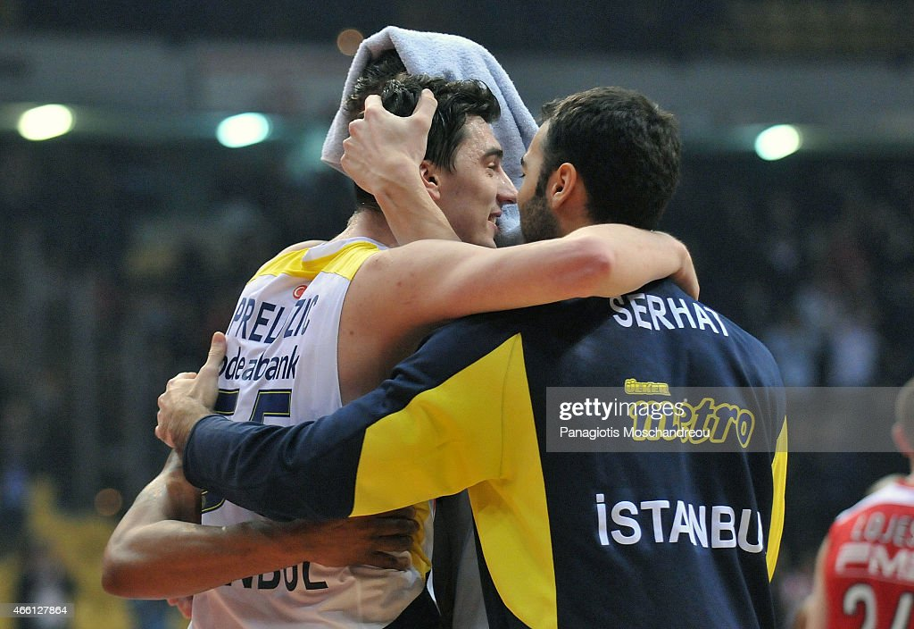 Emir Preldzic, #55 of Fenerbahce Ulker Istanbul reacts during the Turkish Airlines Euroleague Basketball Top 16 Date 10 game between Olympiacos Piraeus v Fenerbahce Ulker Istanbul at Peace and Friendship Stadium on March 13, 2015 in Athens, Greece.