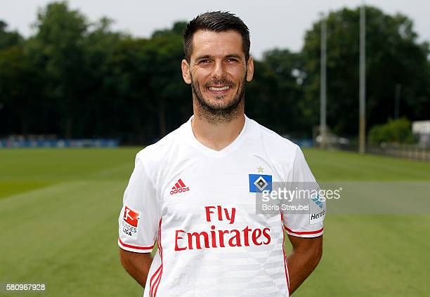 Emir Spahic of Hamburger SV poses during the Hamburger SV Team Presentation at Volksparkstadion on July 25 2016 in Hamburg Germany
