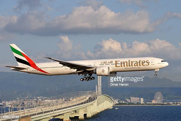 Emirate airlines one of two flag carriers of the UAE landing at Kansai International Airport Japan