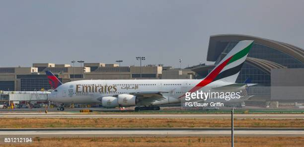 Emirates Airline 777 takes off from Los Angeles international Airport on August 13 2017 in Los Angeles California