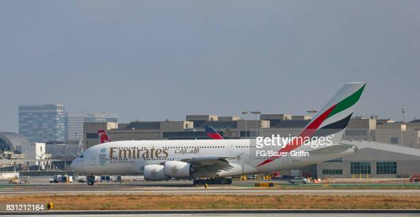 Emirates Airline Airbus A380 takes off from Los Angeles international Airport on August 13 2017 in Los Angeles California