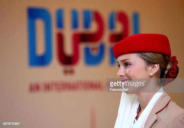 Emirates Airline cabin crew is pictured during day one of Host Cities Summit at the Fairmont Hotel on November 18 2015 in Dubai United Arab Emirates
