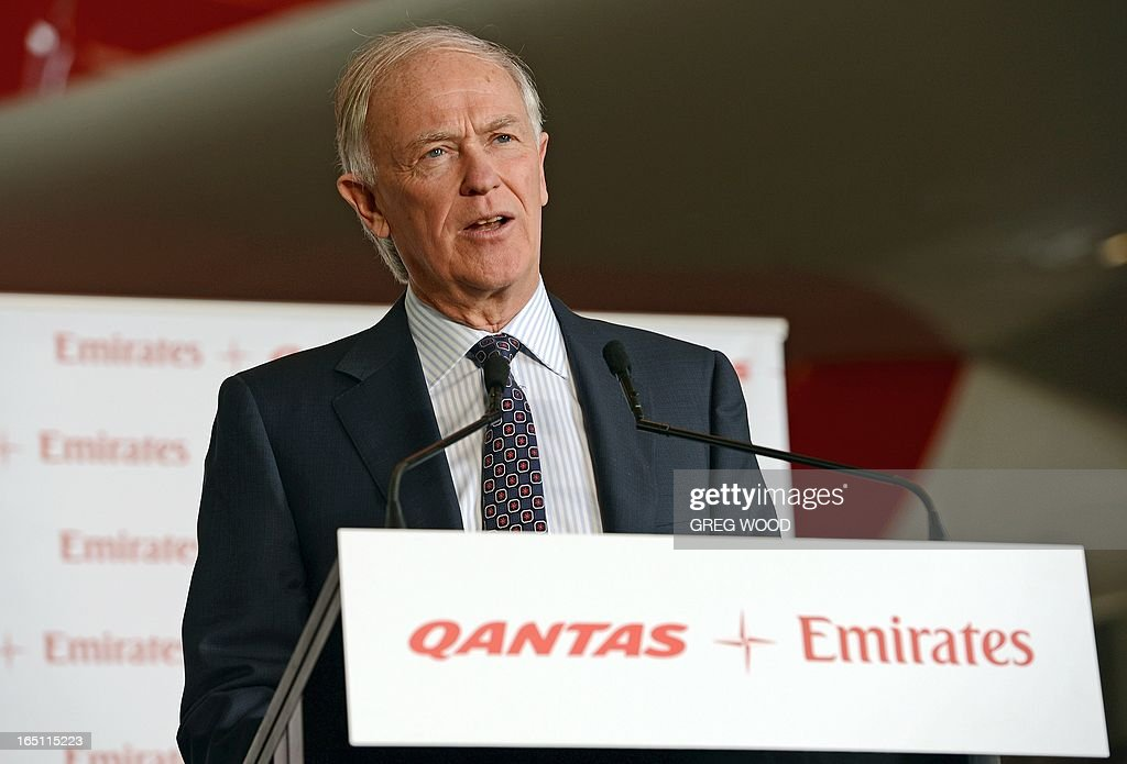 Emirates president Tim Clark speaks at a press conference at Sydney Airport on March 31, 2013 to mark the official launch of the partnership between the Qantas and Emirates airlines. The arrangement, approved by Australia's competition watchdog on March 27, allows the carriers to combine operations for an initial period of five years, including co-ordinating ticket prices and schedules. AFP PHOTO / Greg WOOD