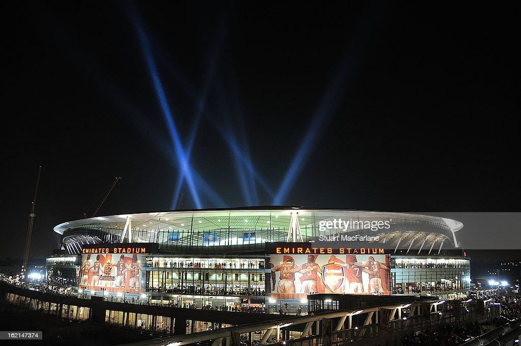 Emirates Stadium before the UEFA Champions League Round of 16 first leg match between Arsenal FC and Bayern Muenchen on February 19, 2013 in London, England.