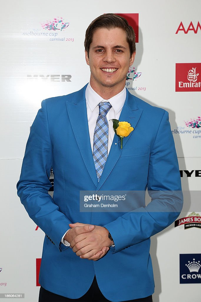Emirates Stakes Day Fashion on the Field Ambassador Johnny Ruffo poses at the 2013 Melbourne Cup Carnival Launch at Flemington Racecourse on October 28, 2013 in Melbourne, Australia.