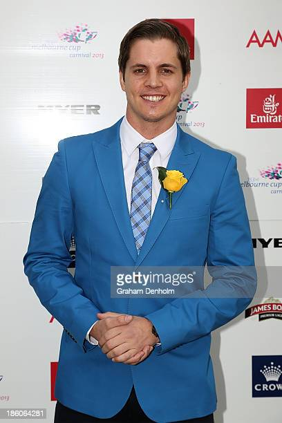 Emirates Stakes Day Fashion on the Field Ambassador Johnny Ruffo poses at the 2013 Melbourne Cup Carnival Launch at Flemington Racecourse on October...