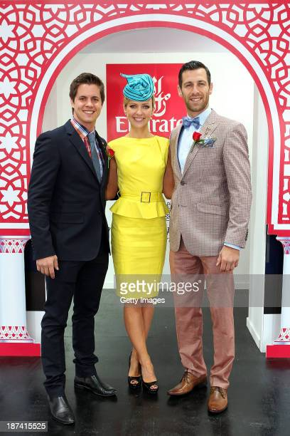 Emirates Stakes Day Fashions on the Field Ambassador Johnny Ruffo Jacqui Felgate and Shura Taft pose at the Fashion on the Field stage during...