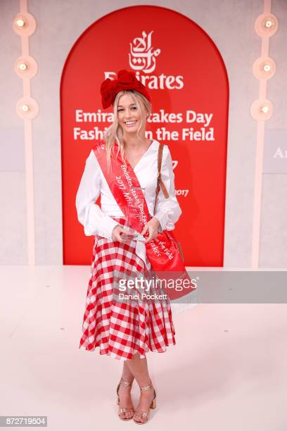 Emirates Stakes Day Fashions on the Field Senior Girls winner Isabella Portelli poses on Emirates Stakes Day at Flemington Racecourse on November 11...