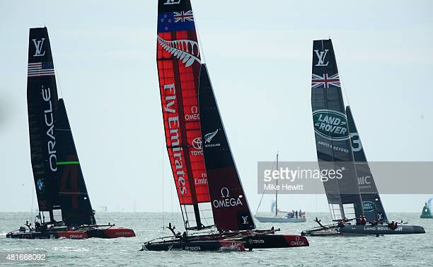 USA Emirates Team New Zealand and Land Rover BAR in action during Day One of the Louis Vuitton America's Cup World Series on July 23 2015 in...