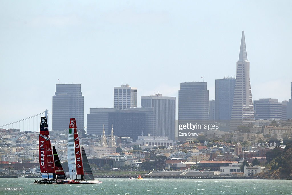 Emirates Team New Zealand and Luna Rossa Challenge make their way past the San Francisco skyline while training for the America's Cup sailing event on July 17, 2013 in San Francisco, California. Emirates Team New Zealand is currently competing in the Louis Vuitton Cup. The winner of the Louis Vuitton Cup goes on to race against Oracle Team USA in the America's Cup Finals that start on September 7.