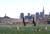 Emirates Team New Zealand and Oracle Team USA race in front of the San Francisco Skyline during race 9 of the America's Cup finals on September 15...