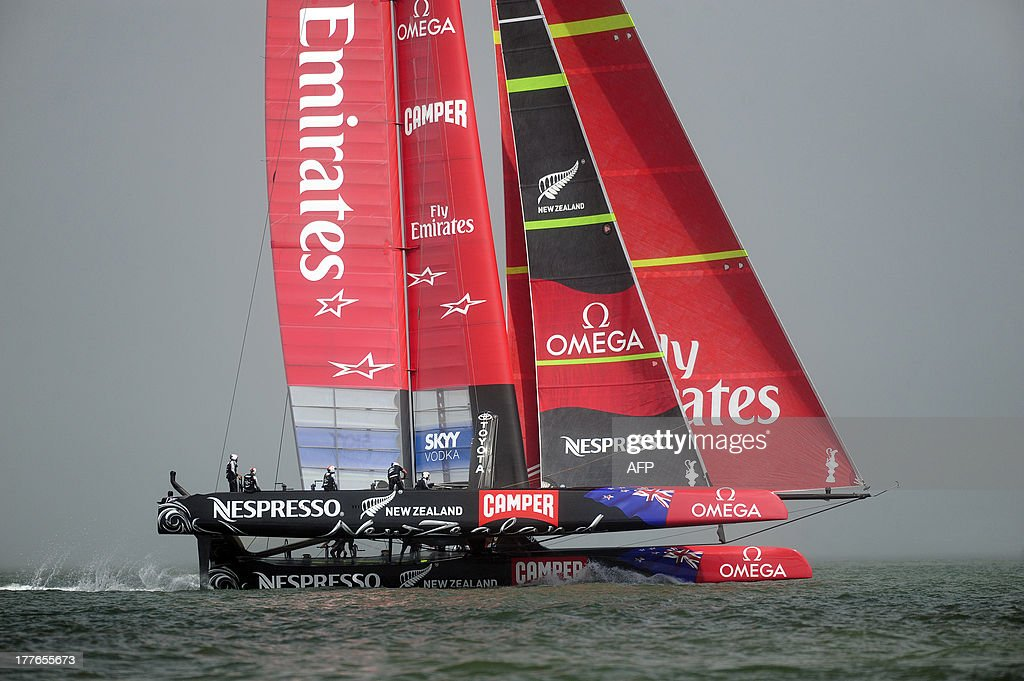 Emirates Team New Zealand competes in the eighth and final race of the Louis Vuitton Cup to win the series 7-1 against Luna Rossa Challenge in San Francisco, California on August 25, 2013. AFP PHOTO / Josh Edelson