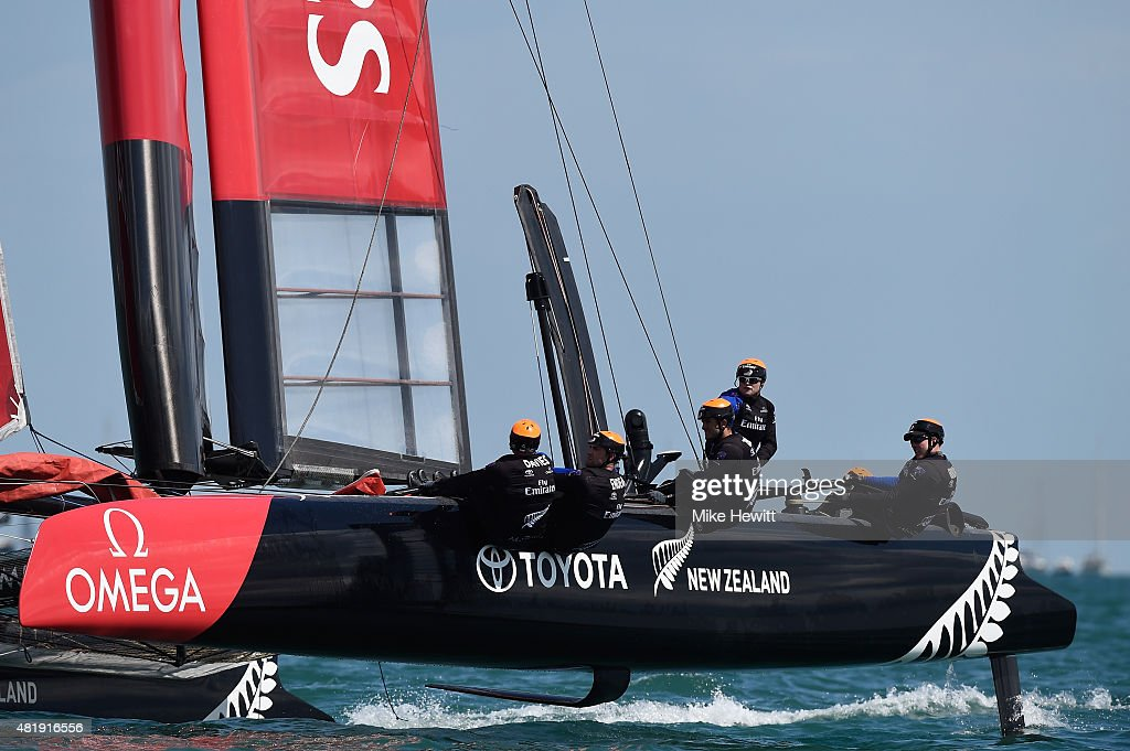 Emirates Team New Zealand crew in action during Day Three of the Louis Vuitton America's Cup World Series on July 25, 2015 in Portsmouth, England.
