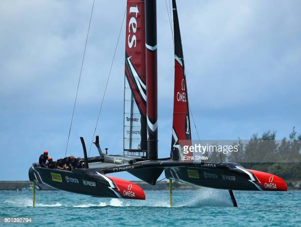 Emirates Team New Zealand helmed by Peter Burling compete during day 5 of the America's Cup Match Presented by Louis Vuitton on June 26 2017 in...
