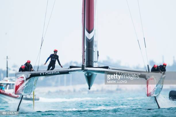 Emirates Team New Zealand helmed by Peter Burling competes during race 5 on the 5th day of racing for the America's Cup on June 1 on Bermuda's Great...