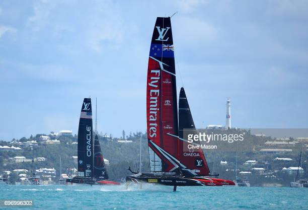 Emirates Team New Zealand helmed by Peter Burling in action racing against Oracle Team USA skippered by Jimmy Spithill during day 1 of the America's...