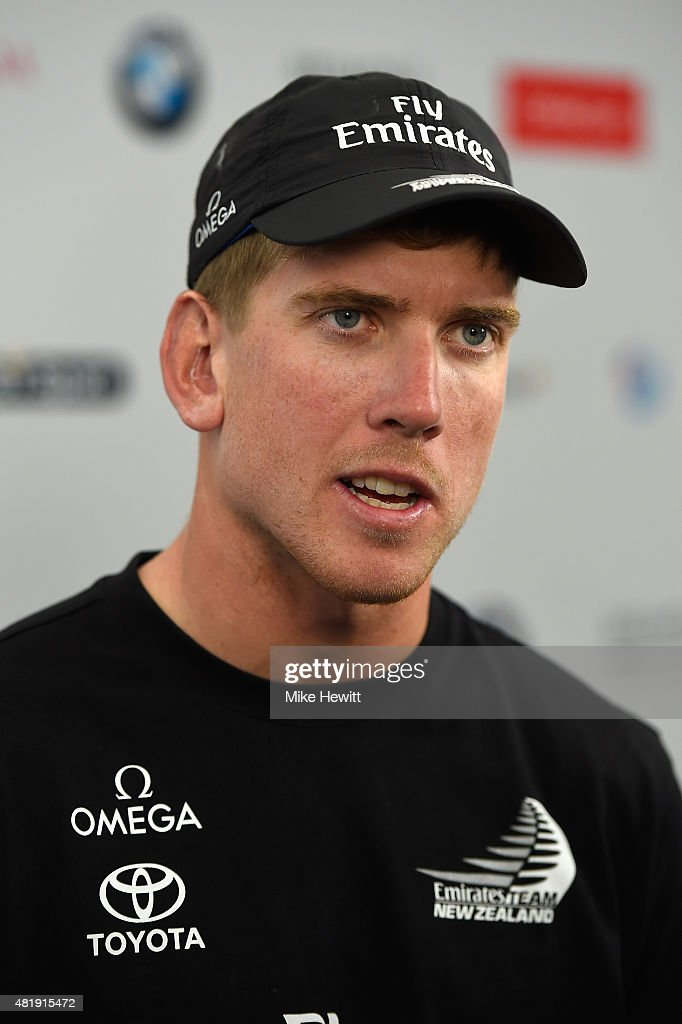 Emirates Team New Zealand helmsman Peter Burling talks to the media during Day Three of the Louis Vuitton America's Cup World Series on July 25, 2015 in Portsmouth, England.