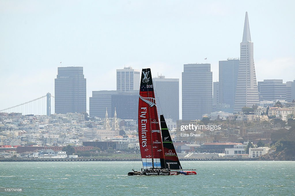 Emirates Team New Zealand makes its way past the San Francisco skyline while training for the America's Cup sailing event on July 17, 2013 in San Francisco, California. Emirates Team New Zealand is currently competing in the Louis Vuitton Cup. The winner of the Louis Vuitton Cup goes on to race against Oracle Team USA in the America's Cup Finals that start on September 7.