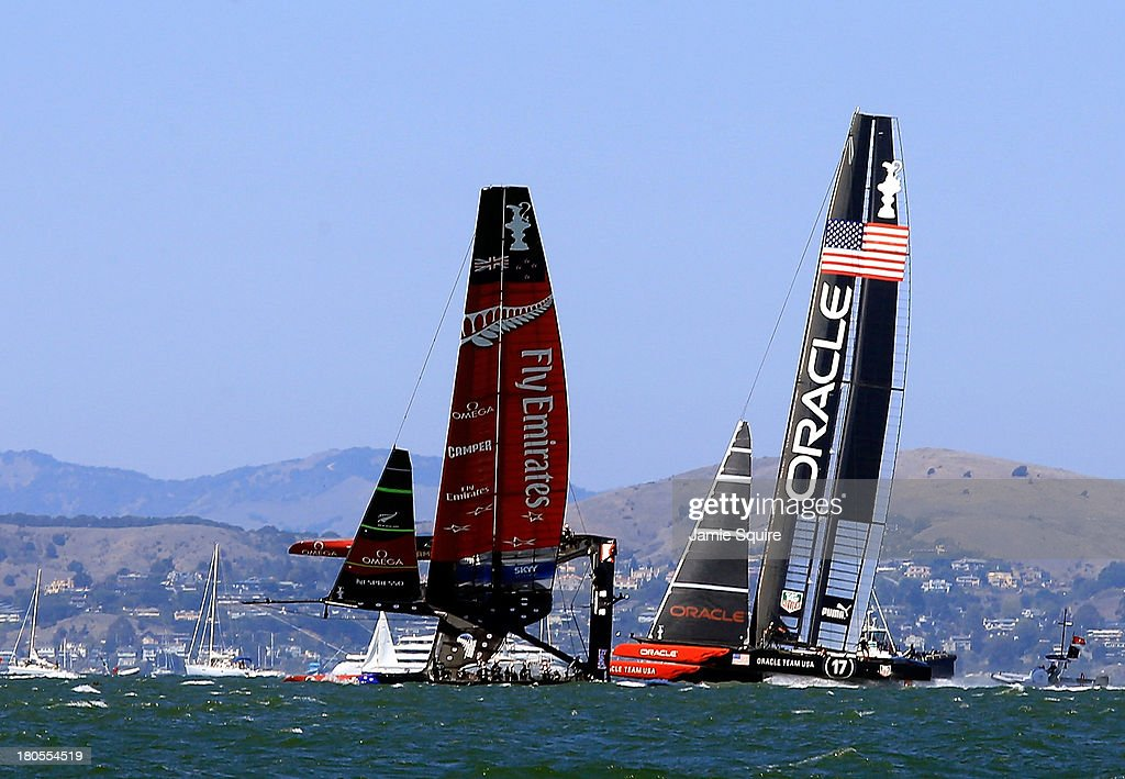 Emirates Team New Zealand nearly capsizes as it races alongside Oracle Team USA during race 8 of the America's Cup Finals on September 14 2013 in San...