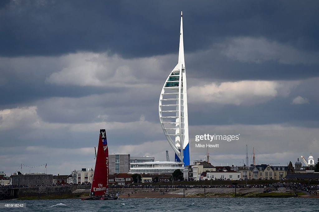 Emirates Team New Zealand pass the Spinnaker Tower during Day Three of the Louis Vuitton America's Cup World Series on July 25, 2015 in Portsmouth, England.