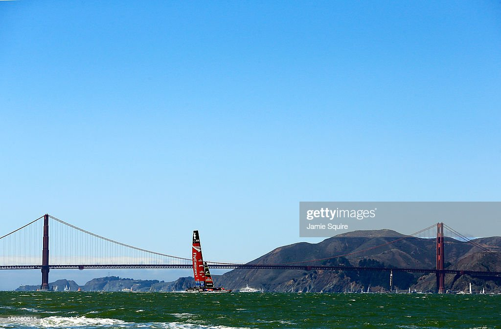 Emirates Team New Zealand practices in front of the Golden Gate Bridge prior to race 8 of the America's Cup Finals against Oracle Team USA on September 14, 2013 in San Francisco, California.