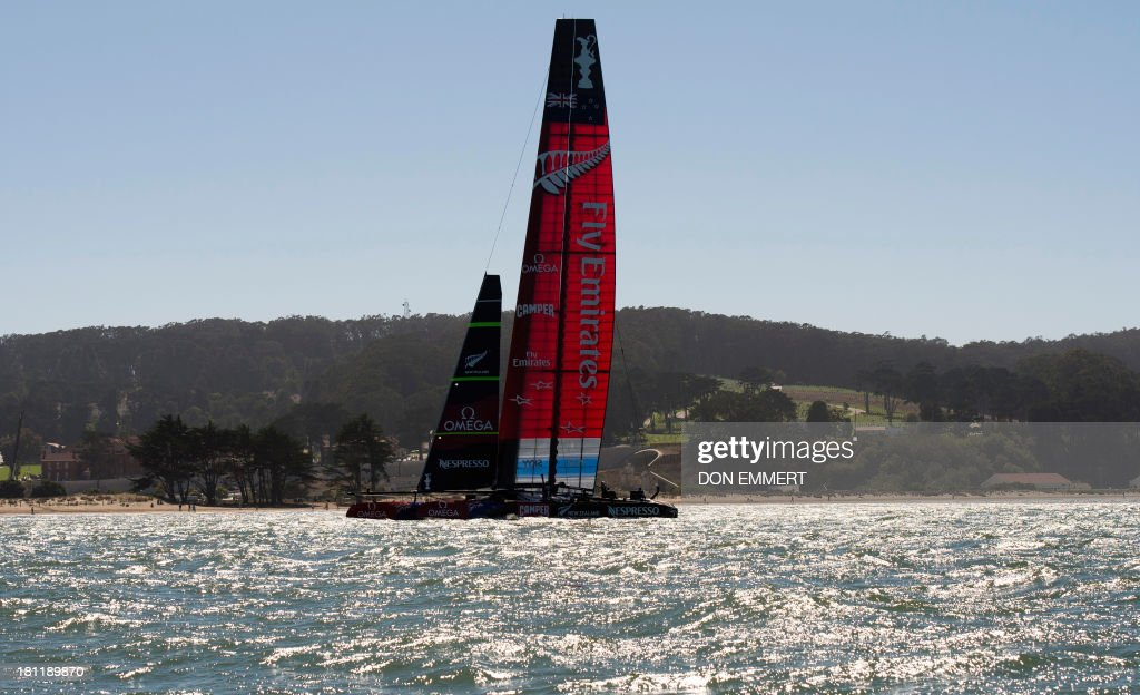 Emirates Team New Zealand prepares for the second race of the day during the 34th America's Cup September 19, 2013 in San Francisco. Team USA won the first race of the day and the second was postponed due to high winds. AFP PHOTO/Don Emmert