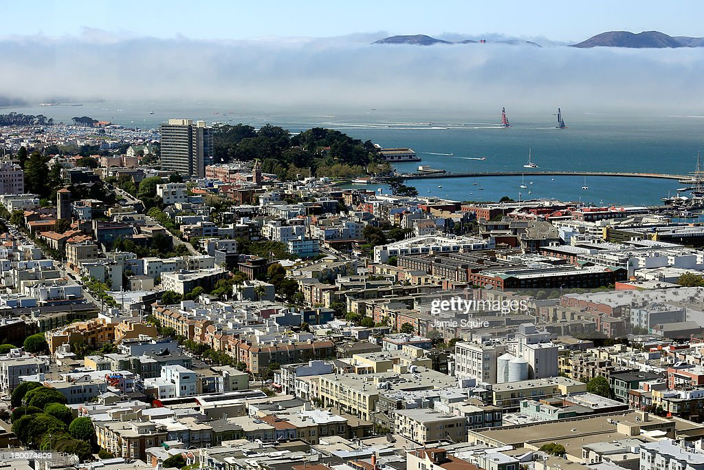 Emirates Team New Zealand races Oracle Team USA in the San Francisco Bay during race 3 of the America's Cup finals on September 8 2013 in San...