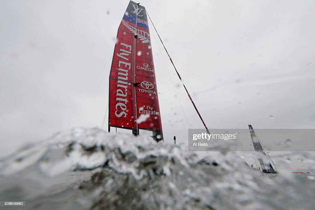 Emirates Team New Zealand sails during their practice race at the Louis Vuitton America's Cup World Series Racing on May 6, 2016 in New York City.