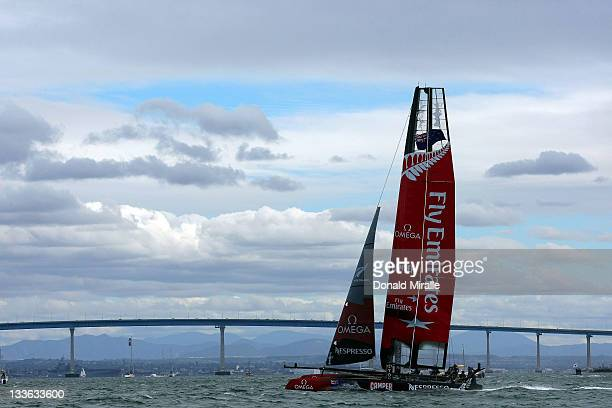 Emirates Team New Zealand sails in front of the Coronado Bridge during the America's Cup World Series San Diego Match Racing Championship Fleet Race...