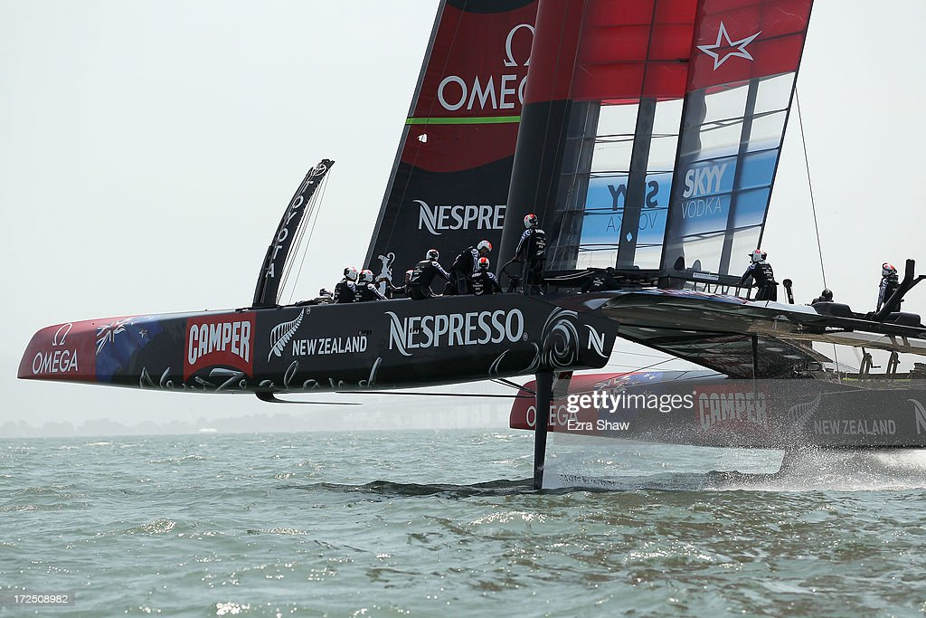 Emirates Team New Zealand sails in the San Francisco Bay during a training session on July 2, 2013 in San Francisco, California. Opening ceremony for the America's Cup is July 4, 2013. The finals begin on September 7, 2013 in San Francisco.