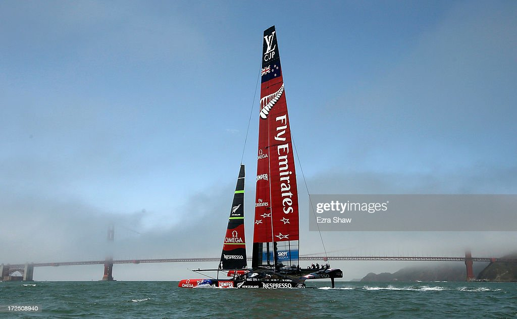 Emirates Team New Zealand sails near the Golden Gate Bridge during a training session on July 2, 2013 in San Francisco, California. Opening ceremony for the America's Cup is July 4, 2013. The finals begin on September 7, 2013 in San Francisco.