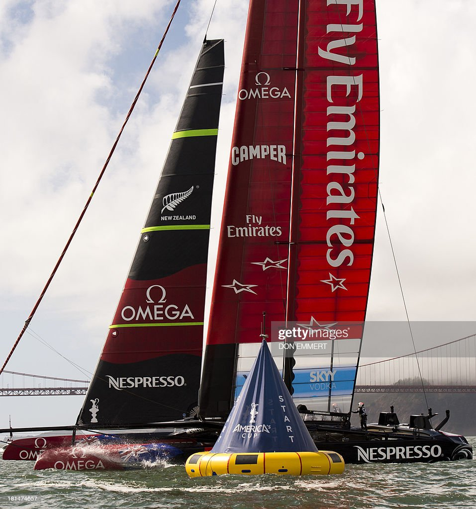 Emirates Team New Zealand sails near the start line during the 34th America's Cup September 21, 2013 in San Francisco. Racing was postponed because of unstable wind conditions. AFP PHOTO/Don Emmert