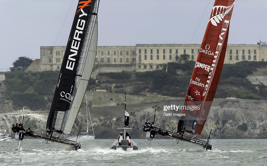 Emirates Team New Zealand (NZL) Skipper Dean Barker against Energy Team France (FRA) Helmsman Loick Peyron during the Match Day Quarter-finals in the America's Cup World Series Championship Racing on October 04, 2012 in San Francisco, California.