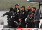Emirates Team New Zealand skipper Dean Barker and his crew following their loss to Azzura of Italy in match two of the Louis Vuitton Trophy at...
