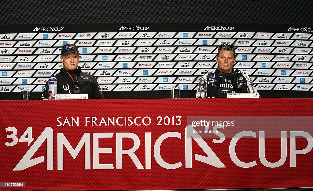 Emirates Team New Zealand skipper <a gi-track='captionPersonalityLinkClicked' href=/galleries/search?phrase=Dean+Barker&family=editorial&specificpeople=636929 ng-click='$event.stopPropagation()'>Dean Barker</a> (R) and Oracle Team USA skipper <a gi-track='captionPersonalityLinkClicked' href=/galleries/search?phrase=James+Spithill&family=editorial&specificpeople=2181352 ng-click='$event.stopPropagation()'>James Spithill</a> (L) look on during a news conference following races 17 and 18 of the America's Cup finals against Oracle Team USA on September 24, 2013 in San Francisco, California. Team USA swept the two races today against Team New Zealand to tie the series at 8, settiing up a winner-take-all race tomorrow.