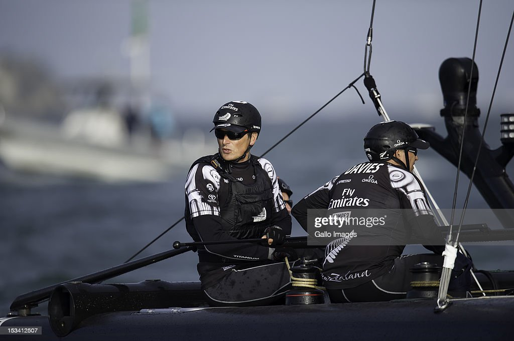 Emirates Team New Zealand, (NZL) Skipper Dean Barker during the Match Day Quarter-finals in the America's Cup World Series Championship Racing on October 04, 2012 in San Francisco, California.