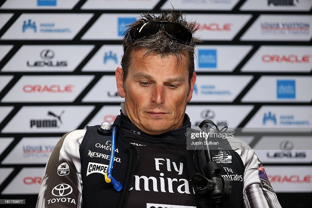 Emirates Team New Zealand skipper <a gi-track='captionPersonalityLinkClicked' href=/galleries/search?phrase=Dean+Barker&family=editorial&specificpeople=636929 ng-click='$event.stopPropagation()'>Dean Barker</a> looks on during a news conference following races 17 and 18 of the America's Cup finals against Oracle Team USA on September 24, 2013 in San Francisco, California. Team USA swept the two races today against Team New Zealand to tie the series at 8, settiing up a winner-take-all race tomorrow.