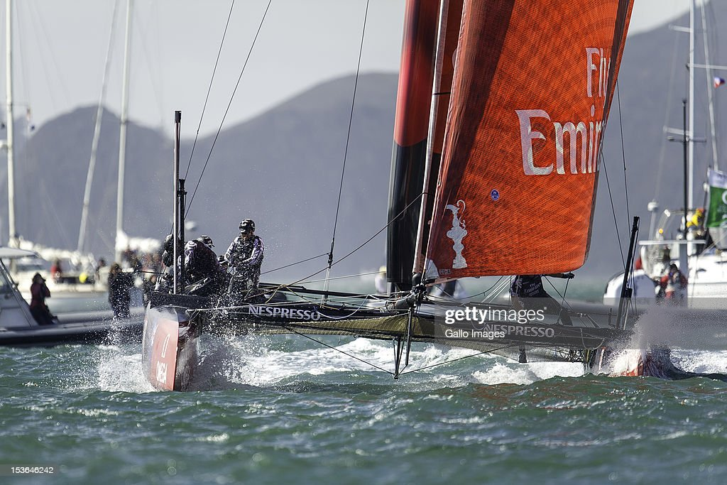 Emirates Team New Zealand (NZL) Skipper Dean Barker round the top mark during Day 5 of the America's Cup World Series on October 7, 2012, in San Francisco, CA.