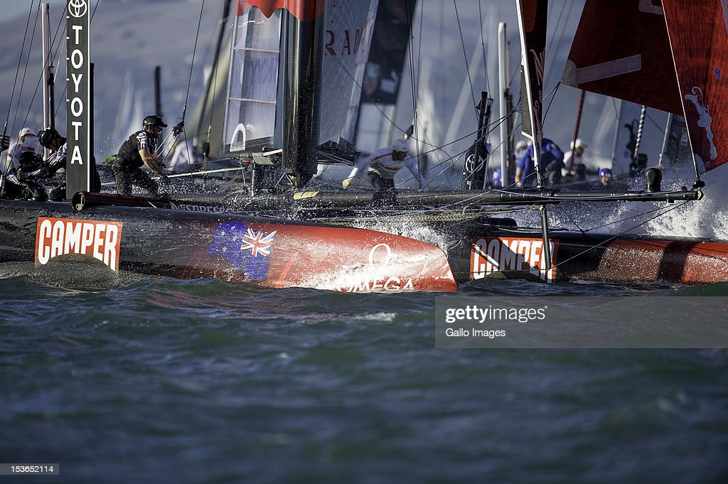 Emirates Team New Zealand (NZL) Skipper Dean Barker rounding the first turning mark during Day 4 of the America's Cup World Series on Occtober 6, 2012 in San Francisco, California.