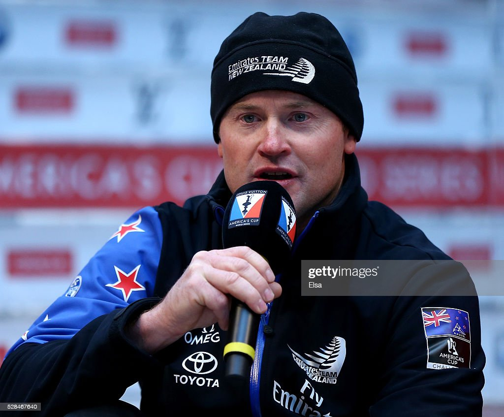 Emirates Team New Zealand skipper <a gi-track='captionPersonalityLinkClicked' href=/galleries/search?phrase=Glenn+Ashby&family=editorial&specificpeople=3647241 ng-click='$event.stopPropagation()'>Glenn Ashby</a> answers questions during the Louis Vuitton America's Cup World Series Racing Skipper press conference at the Brookfield Place on May 05, 2016 in New York City.