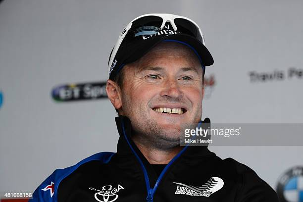 Emirates Team New Zealand skipper Glenn Ashby talks to the media during Day One of the Louis Vuitton America's Cup World Series on July 23 2015 in...