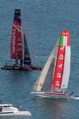Emirates Team New Zealand skippered by Dean Barker and Team Luna Rossa Piranha skippered by Chris Draper sail during a practice race of America's Cup...